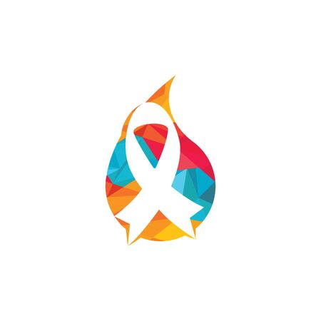 Pink ribbon and water drop vector logo design. Breast cancer awareness symbol. October is month of Breast Cancer Awareness in the world.