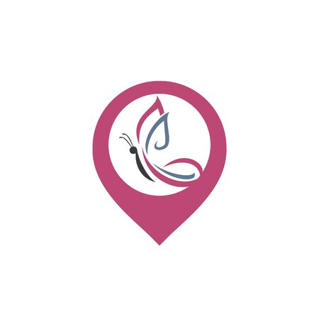 Butterfly and map pointer logo design. Butterfly and gps locator symbol or icon. Beauty salon vector logo creative illustration.