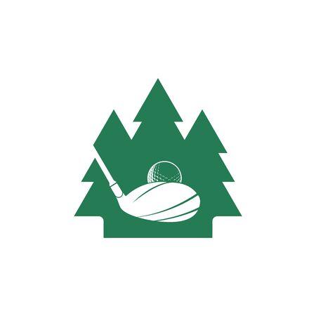 Golf pine tree vector logo design. Golf club inspiration logo design.