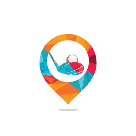 Vector golf club and map pointer logo combination. Golf club inspiration logo design.