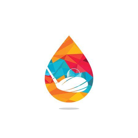 Water drop golf vector logo design. Golf club inspiration logo design.
