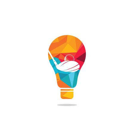 Golf club bulb shape logo design. Golf club inspiration logo design. Creative golf ideas sign.