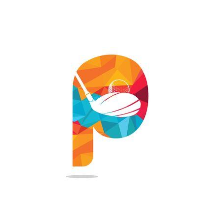 Initial letter P golf vector logo design. Golf club inspiration logo design.