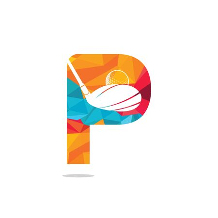 Initial letter P golf vector logo design. Golf club inspiration logo design. Reklamní fotografie - 133010609