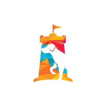 Dog head and fort vector logo design. Animal insurance company logo concept. Pet care logo design. Security logo concept design. Illustration