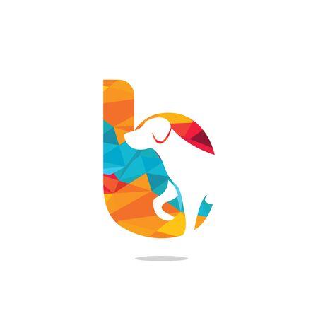 Letter B and Dog head vector logo design. Pet care logo design. Pet icon vector. Pet love logo design.