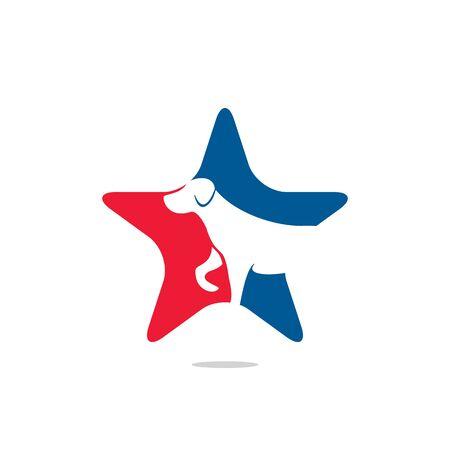 Star Dog icon logo design vector illustration. Veterinary vector logo design template. Illustration