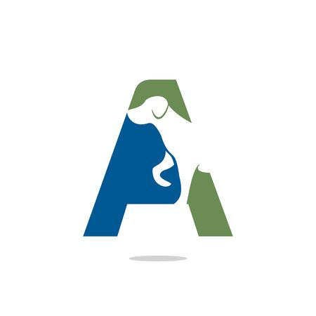 Letter A and Dog head vector logo design. Pet care logo design. Pet icon vector. Pet love logo design.
