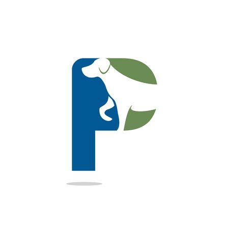 Letter P and Dog head vector logo design. Pet care logo design. Pet icon vector. Pet love logo design.