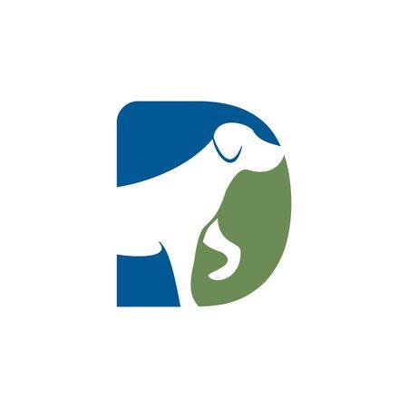 Letter D and Dog head vector logo design. Pet care logo design. Pet icon vector. Pet love logo design. Illustration