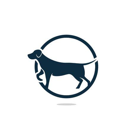Dog icon logo design vector illustration. Veterinary vector logo design template.