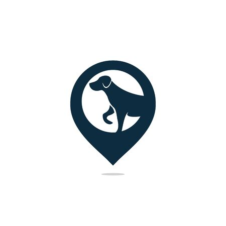 Dog pet animal pin location logo design. Symbol pet dog with the location marker icon design.