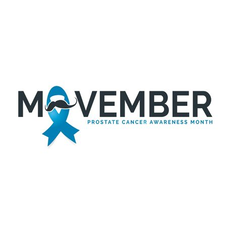 Design for Prostate cancer awareness month in November. Word movember with realistic blue ribbon. Design template for poster. Vector illustration. Illustration