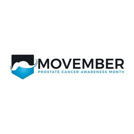 Movember cancer awareness Vector icon. Male Face with Mustache and hand lettering text symbolize Movember Awareness Month.
