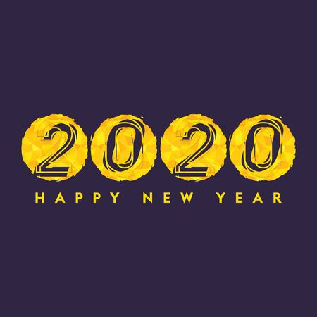 Golden 2020 font design. Happy New Year Banner with Gold 2020 Numbers on Dark Background. Çizim