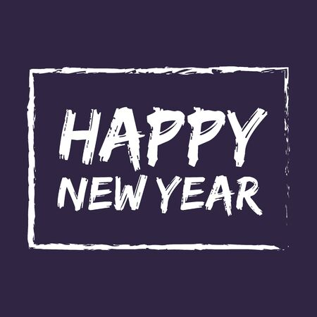 Happy New Year lettering on dark background. Greeting card design with hand lettering inscription for winter holidays. Vector festive illustration with calligraphy. Çizim