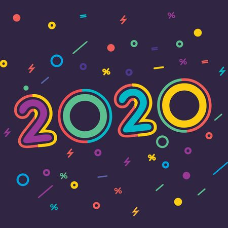 Happy New Year 2020 colorful facet  text design. Cover of business diary for 2020 with wishes. Brochure design template, Xmas card, sale banner.