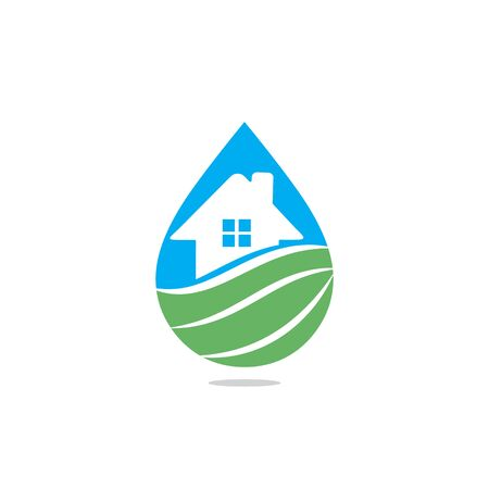 House  Incorporated With Water. Eco pieces of nature emblem. Healthy lifestyle. Fresh drink product.