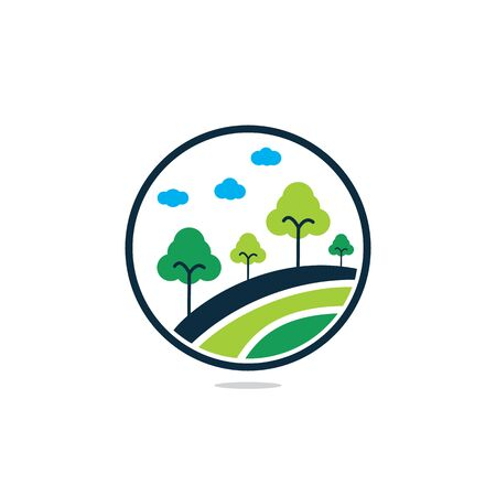 Tree  in Circle Shape. Nature Landscape  Design. Çizim