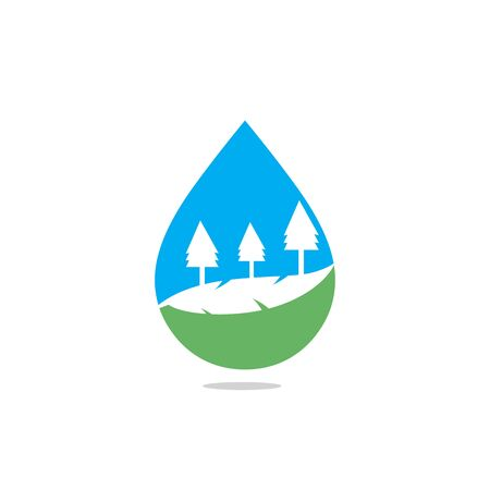 Landscape drop water design . Nature water sign. Organic food and drink label. Farm stamp.