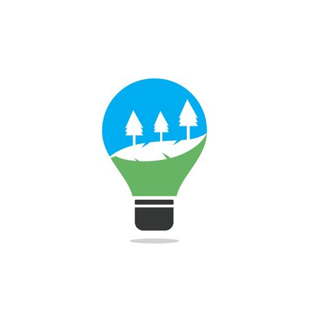 Abstract bulb lamp with landscape . nature innovations symbol.