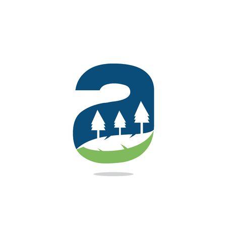 Nature landscape icon letter A  design.