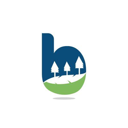 Nature landscape icon letter B  design.