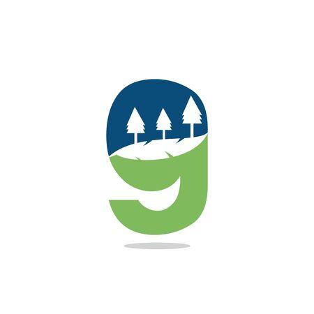Nature landscape icon letter G  design.