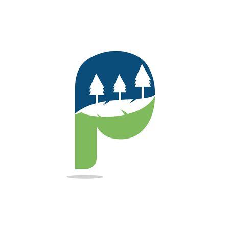 Nature landscape icon letter P  design.
