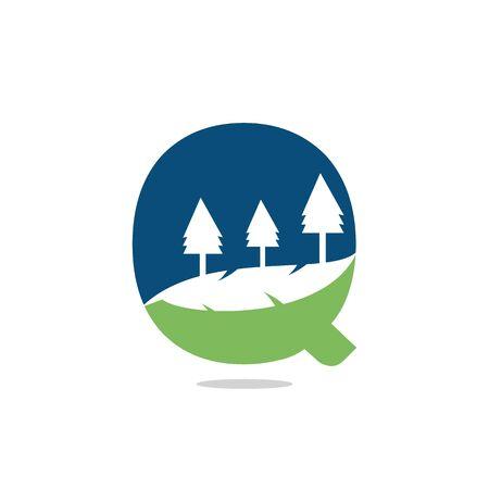 Nature landscape icon letter q  design.