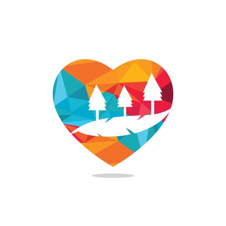 Countryside in shape of heart. Love of landscape.  or icon vector design template