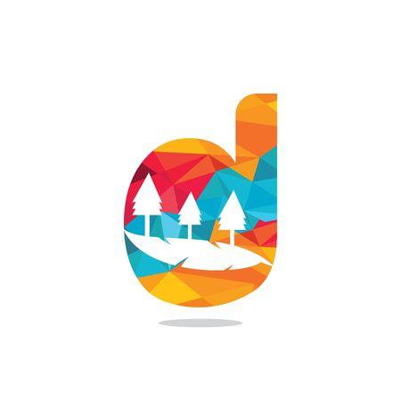 Nature landscape icon letter D  design. Çizim