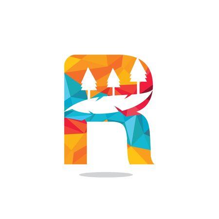 Nature landscape icon letter R  design.