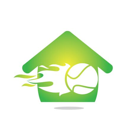 Vector tennis and real estate  combination. Game and house symbol or icon. Çizim