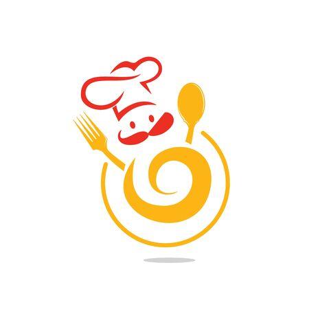 sjabloon voor eten en restaurant. Chef-kok creatief symbool concept. Cook gezicht, snor en hoed.