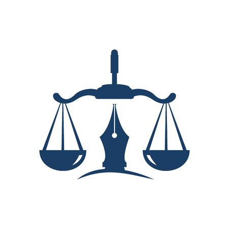 Law  vector with judicial balance symbolic of justice scale in a pen nib.  vector for law, court, justice services and firms. Çizim