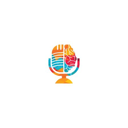 Brain podcast logo design. Broadcast entertainment business logo template vector illustration. Vettoriali