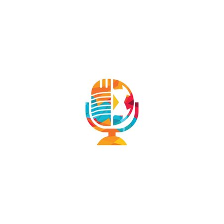 Soccer podcast logo design. Broadcast entertainment business logo template vector illustration. Vettoriali