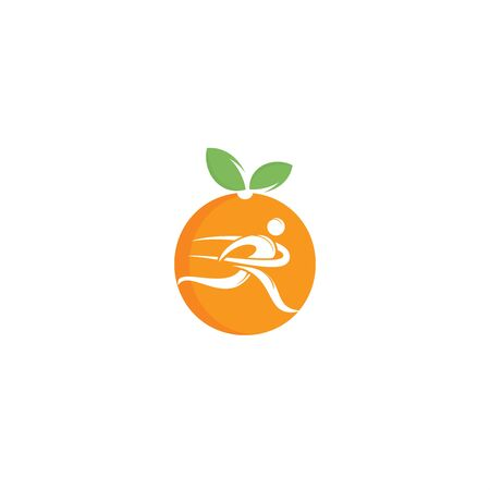 Running man and orange logo design.Diet and weight loss concept. Vettoriali