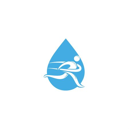 Running man with finish ribbon and water drop shape logo. Running man vector symbol. Sport and competition concept.