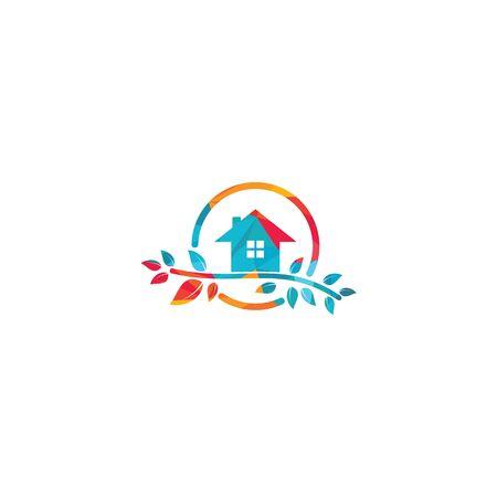 Green Tree Home Logo Template. Universal reversible energy logo concept
