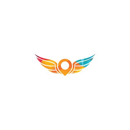 Wing geo pin vector logo design. GPS and wing icon vector. Illustration