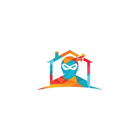 Ninja House vector logo design.