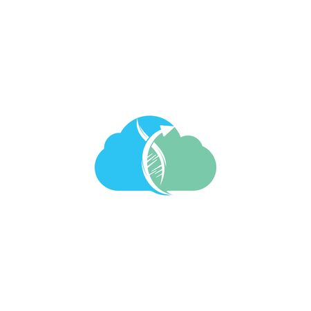 Human DNA and cloud logo. Science genetics vector logo design. Genetic analysis, research biotech code DNA. Biotechnology genome chromosome. 向量圖像