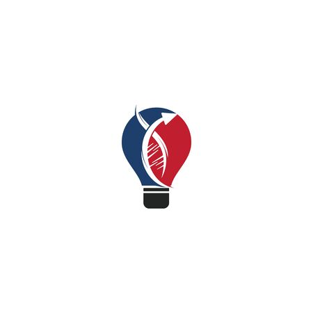 Bulb lamp and Human nature DNA and genetic logo design. Human health and care logo design. Nature idea innovation symbol. 向量圖像