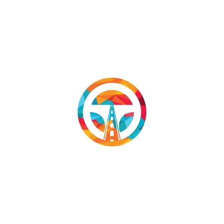 Driving school logo design. Steering wheel and road icon. Ilustracja