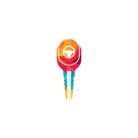 Driving school logo design. Car key with road and steering wheel icon. Ilustracja