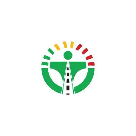 Driving school logo design. Steering wheel with road and speedometer logo.