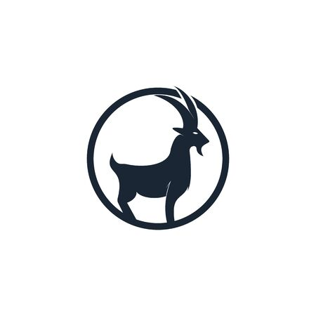Goat Simple Logo Template Design. Mountain goat vector logo design. Illusztráció