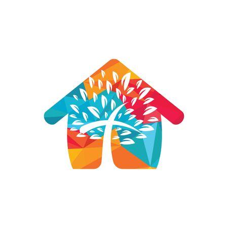 Abstract home and tree religious cross symbol icon vector design. Ilustración de vector